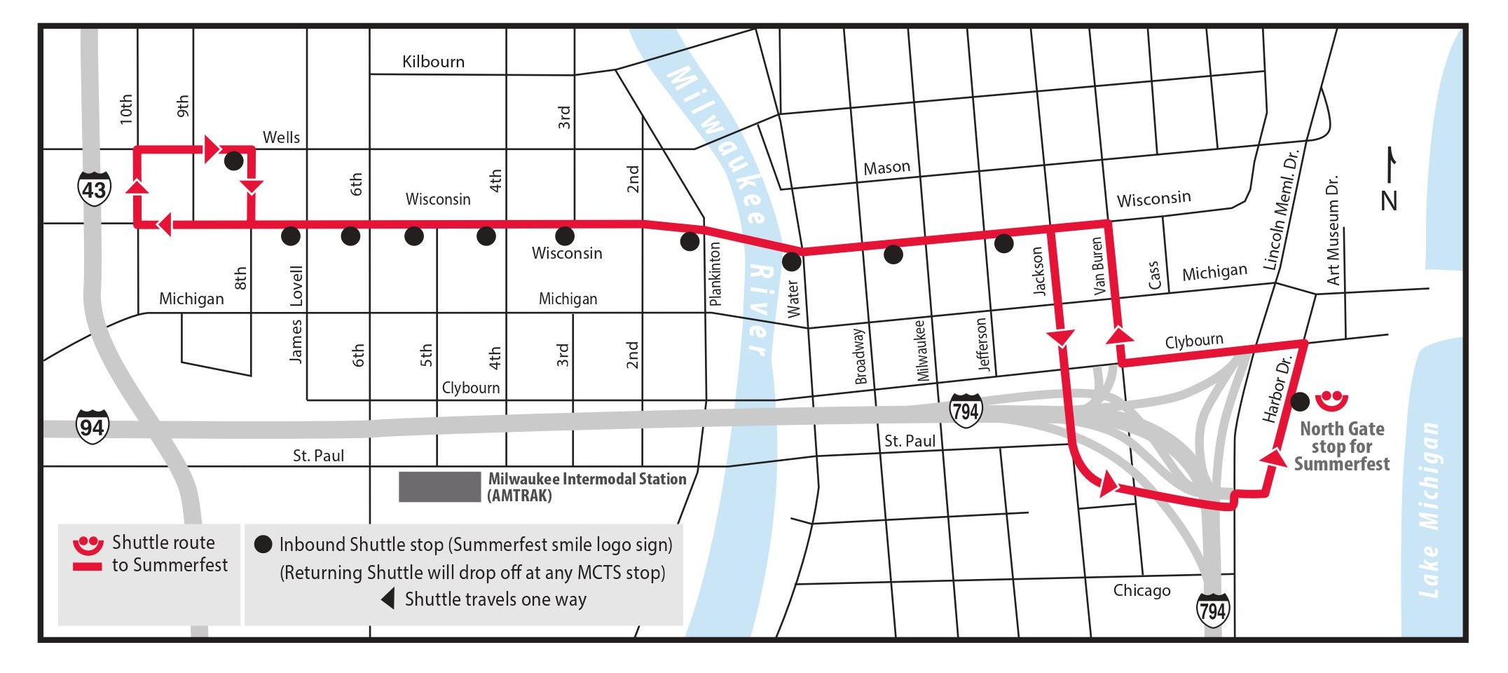 Ride MCTS Routes Schedules - Summerfest grounds map
